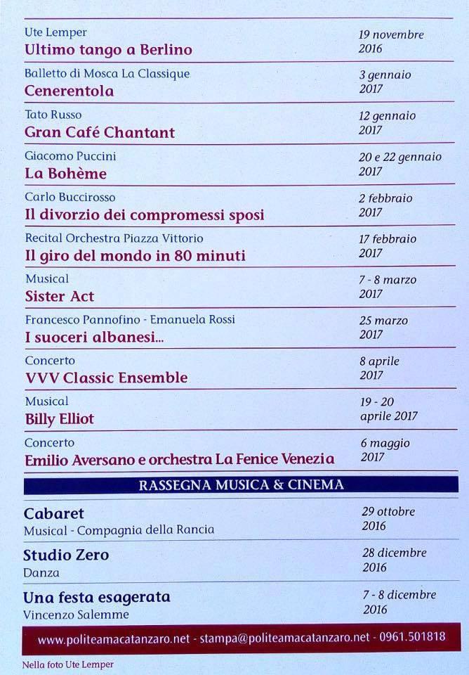 Teatro Politeama di Catanzaro - programma stagione 206/2017