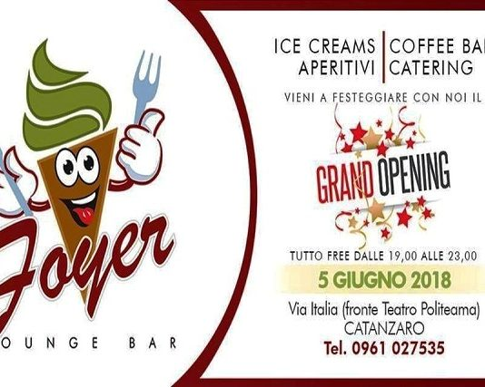 Foyer Lounge Bar banner inaugurazione