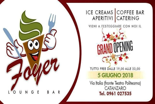 Foyer Lounge Bar banner inaugurazione