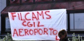 Istituto di Vigilanza Catanzaro protestano i lavoratori davanti aeroporto