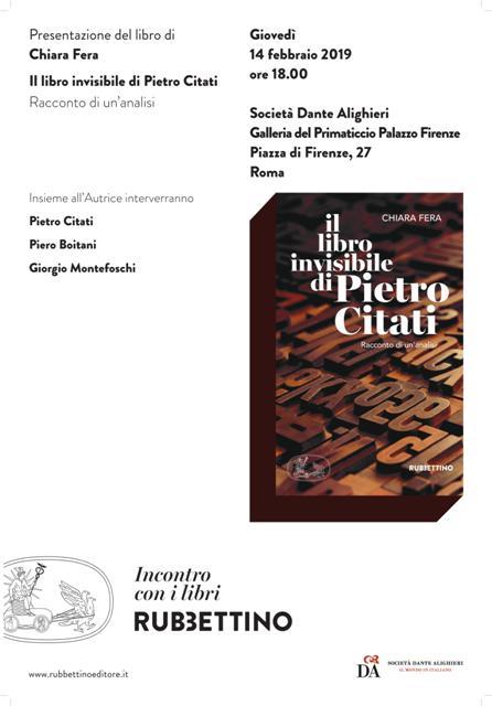 Locandina 14 febbraio Pietro Citati - Giorgio Montefoschi - Piero Boitani