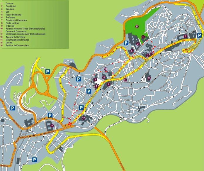 Mappa nuova viabilità Catanzaro-