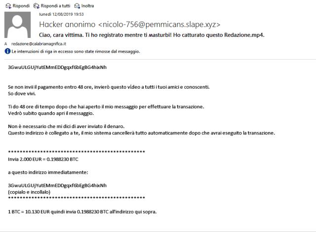 Estorsione via mail