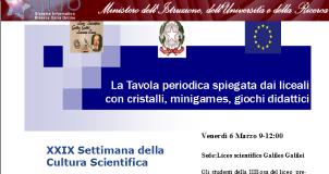 Liceo Galileo Galilei, Miur, Settimana della cultura scientifica