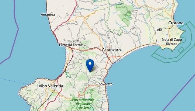 terremoto magnituto ML 2.3 Palermiti Catanzaro