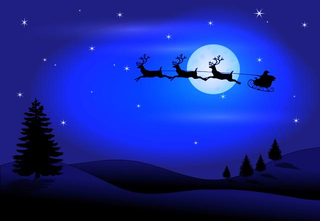 Natale, renne, luna, santa claus