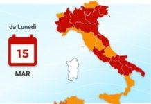 Covid Italia, zone rischio da lunedì 15 marzo