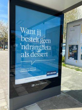 'Ndrangheta, pubblicità dell'Università di Leuven (Belgio)