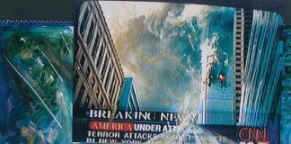 New York 11.09.2001 Afterwards, La luce della rinasciata, collage, tecnica mista su calendario