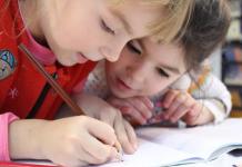 famiglia, scuola, bambini, disegno
